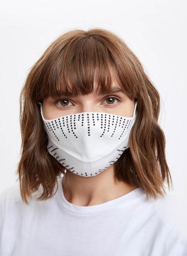 DeFacto Taş İşleme Detaylı Yıkanabilir Maske Beyaz